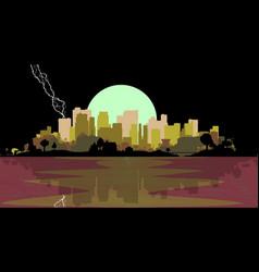 Lightning strike city vector