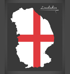 Lincolnshire map england uk with english national vector