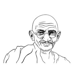 Mahatma gandhi portrait black white vector