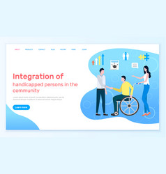 Medical service webpage handicapped people vector
