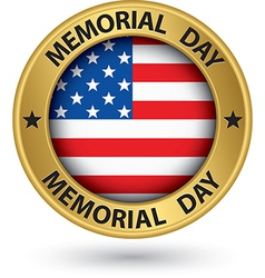 Memorial day gold label with USA flag vector