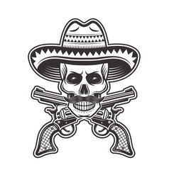 Mexican bandit skull in sombrero hat vector