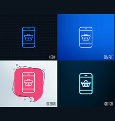 mobile shopping cart line icon online buying vector image