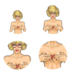 Naked girl covering breast pop art avatars vector