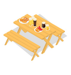oktoberfest wood food table icon isometric style vector image