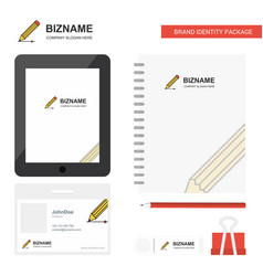 Pencil business logo tab app diary pvc employee vector