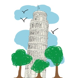 Pisa Tower - hand drawn vector