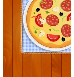 Pizza in White Plate on Kitchen Napkin at Wooden vector image