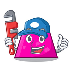 Plumber trapezoid mascot cartoon style vector