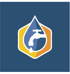 Plumbing logo with faucet and water vector