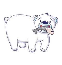 polar bear with fish icon cartoon style vector image