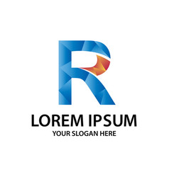 polygonal initial r with logo vector image