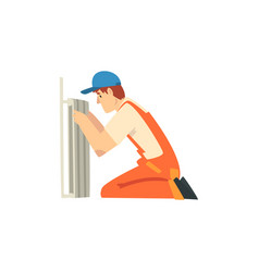 professional plumber installing radiator male vector image