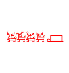 reindeer sleigh santa claus in felt-tip pen style vector image