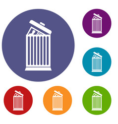 Resume thrown away in the trash can icons set vector