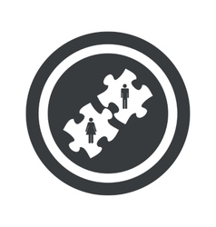 Round black people puzzle sign vector