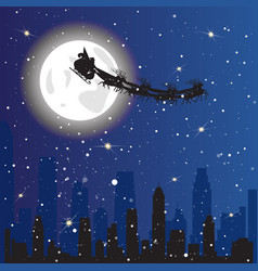 Santa driving sledge in sky flying over night city vector