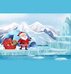 Scene with santa and present in north pole vector