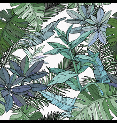 Seamless pattern with green foliage branches and vector
