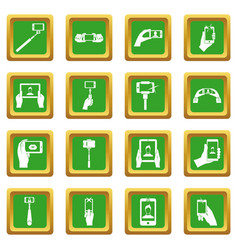 Selfie icons set green vector