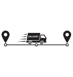 service delivery truck and pointers on way vector image