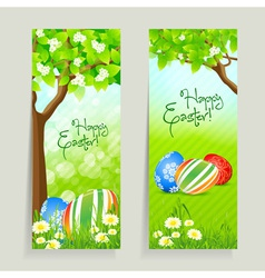 Set of Easter Cards with Grass and Tree vector image