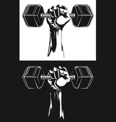 Silhouette strong hand fixed hex dumbbells vector