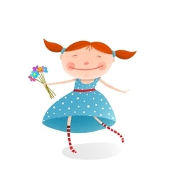 Small girl with bouquet of flowers wearing blue vector image