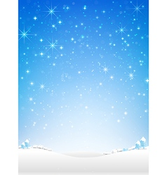 Star night and snow fall bakcground vector