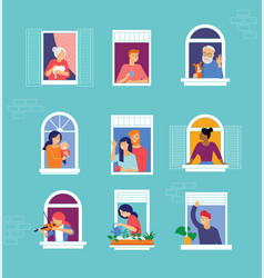 Stay at home concept design different types vector