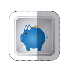 Sticker silver square button with blue piggy bank vector