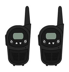 Two travel black radio set devices vector image