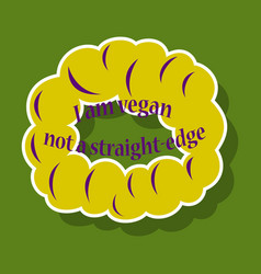 Vegetarian logo template design food logo sticker vector