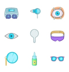 Vision icons set cartoon style vector image