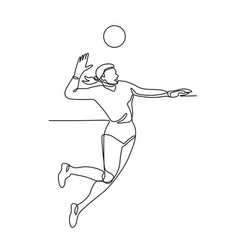 Volleyball player striking ball continuous line vector
