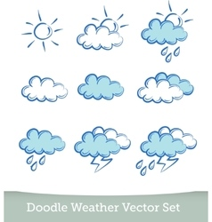 weather doodle set isolated on white background vector image