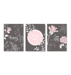 Wedding invitation cards with hand drawn roses vector