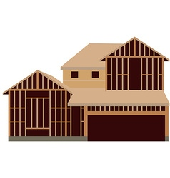 Wooden unfinished house vector