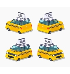 Yellow taxi hatchback vector