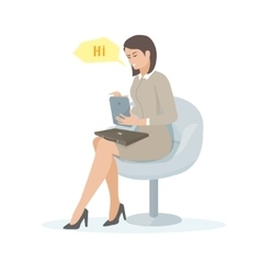 a young woman with a tablet vector image vector image