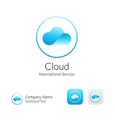 Cloud Stylish Logo Icon and Button Concept Set vector image