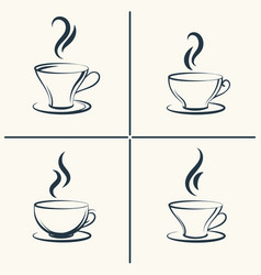 coffee cups with smoke icon set vector image