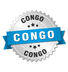 Congo round silver badge with blue ribbon vector image vector image
