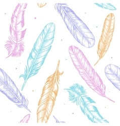 Feathers Hand Draw Sketch Background Pattern vector image