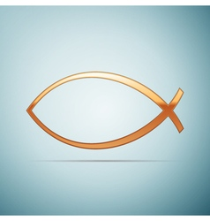 Gold Christian fish icon on blue background vector image