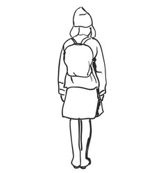 hand drawn schoolgirl with backpack sketch vector image vector image