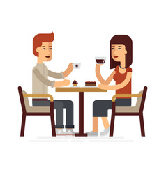 man and woman drinking coffee in a cafe vector image vector image