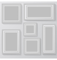 Set of white photo frames on grey background vector image