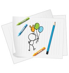 A paper with a drawing of a pencil crayons and a vector image vector image