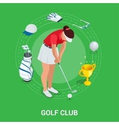 Golf club concept Isometric golfer and apparel vector image vector image